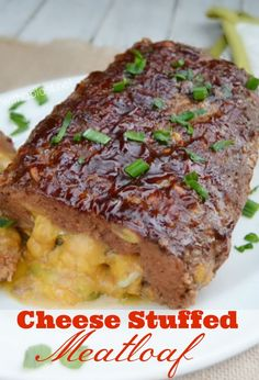 Cheese Stuffed Meatloaf - Easy stuffed Meatloaf with gooey Cheese and a delicious BBQ topping - perfect to serve any day, all seasons for dinner Meatloaf Recipe With Cheese, Cheese Stuffed Meatloaf, Stuffed Meatloaf Recipes, Cheese Recipes, Meat Recipes, Cooking Recipes, Hamburger Recipes, Ground Beef Recipes, Gourmet