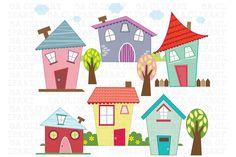 Little Houses Digital Clip Art - Illustrations - 1