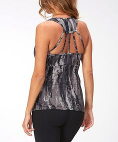 Look at this Black Slimming Ruched Racerback Tank - Women on #zulily today!