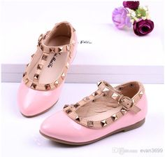 Children Valentino Shoes for Girl Rivet T Strap Children Leather Shoes for Kids Dress Shoes Online with $24.09/Piece on Evan3699's Store | DHgate.com