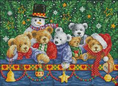 Bead embroidery kit Merry Christmas New Year's Bears