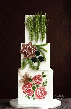 Quilling wedding cake by Jessica MV - http://cakesdecor.com/cakes/257091-quilling-wedding-cake