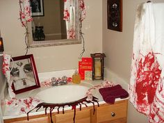 a little over the top but some good halloween bathroom ideas
