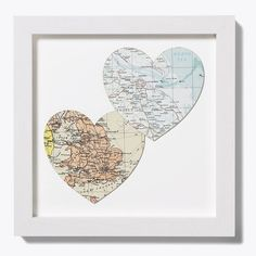 Map art—maybe a great wedding gift idea for a couple born far apart?
