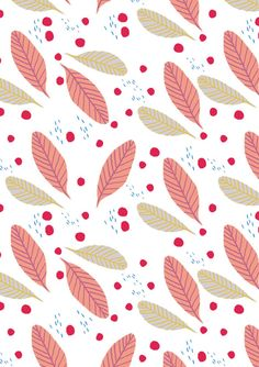 Small Leaves Red Dots by Sarah Betz