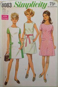 Vintage 60s Mod Dress Pattern 1960s 2 Tone 38 bust by weezieduzzit