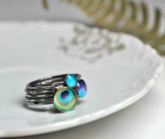 PEACOCK Stacking Rings - Sterling Silver (set of 5). YOUR SIZE. via Etsy