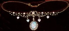 Victorian diamond and opal gold on silver necklace with movable pendant centre 1880c
