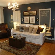 Notice the floor and wall colors. Room Pictures, Eclectic Decor, My Dream Home, Wall Colors, Family Room, Design Inspiration, Layout, Couch, Flooring