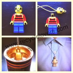 How to recycle Lego into vintage jewelry, could do this with little Barbie shoes...the possibilities are quite endless