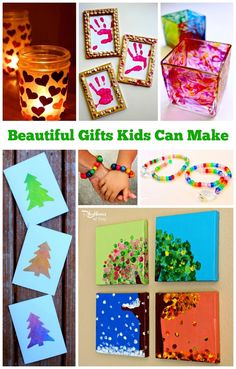 Each of these beautiful gifts can be made by kids. Handmade gifts from kids are always a favorite with friends and family. Little one's will need some assistance while an older child will be able to make these on their own. Detailed instructions with photos are provided for each one.