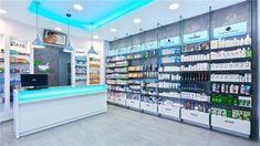 Glass shelves retail pharmacy interior… why custom design Design Exterior, Shop Interior Design, Retail Design, Handy Shop, Mobile Shop Design, Deco Restaurant, Glass Shelves In Bathroom, Pharmacy Store, Store Layout