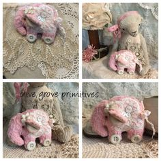 Tiny handmade elephant made by Olive grove primitives