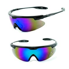 50deb0f5f2 Mens Sport Full Shield Color Mirrored Lens Wrap Around Sunglasses Black  Green Revo