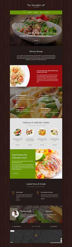 Template 55761 - Alexander Restaurant  Responsive WordPress  Theme