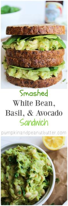 Smashed White Bean, Basil, & Avocado Sandwich {vegan, gluten free} A yummy healthy lunch recipe! Veggie Recipes, Lunch Recipes, Whole Food Recipes, Vegetarian Recipes, Cooking Recipes, Healthy Recipes, Veggie Food, Simple Recipes, Vegetarian Meals