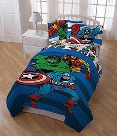5 Piece Boys Blue Marvel Superhero Themed Comforter Twin Set Horizontal Striped #DH