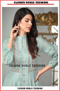 Kurti Sleeves Design, Kurta Neck Design, Sleeves Designs For Dresses, Simple Kurta Designs, Kurta Designs Women, Blouse Designs, Stylish Dresses For Girls, Stylish Dress Designs, Frock Fashion