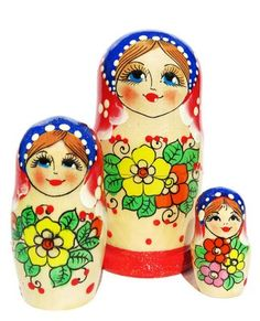 Wonderful flower bouquet is hand painted on a set of 3 Russian nesting dolls. Babushka makes a great gift. Limited stock. Low price. Buy and save now.