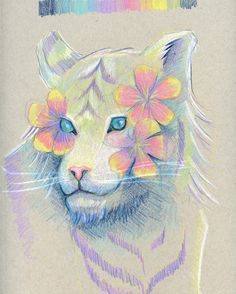 I added a cute kitty to an old unfinished sketch of flowers and I really like it. I just need to fix the left eye a bit. Sometimes I don't notice mistakes in my drawings until after I scan or photograph it. There's just something about looking at it on a screen. #floral #tiger #prismacolor #sketchbook #illustration #art #artsogram #artist #artistlife