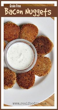 Grain-Free Bacon Nuggets. A delicious little gluten free nugget that is filled with bacon. A kid favorite for sure. Serve with your favorite dipping sauce. realfoodrn.com #bacon #nuggets