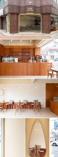 [No.721 듄커피] 화이트 우드톤 깔끔한 10평 카페 인테리어 White wood cafe interior Wood Cafe, Inside Shop, Wood Interiors, Cafe Interior, Beauty Shop, White Wood, Air Balloon, Room, Furniture