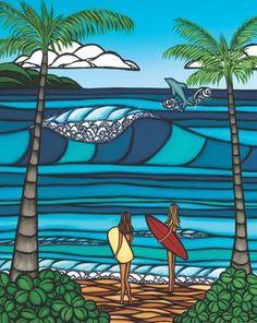Rip Curl - The Ultimate Surf Company Heather Brown Art, Surf Drawing, Char A Voile, Hawaiian Art, Surfboard Art, Art Sculpture, Surf Art, Ocean Art, Beach Art