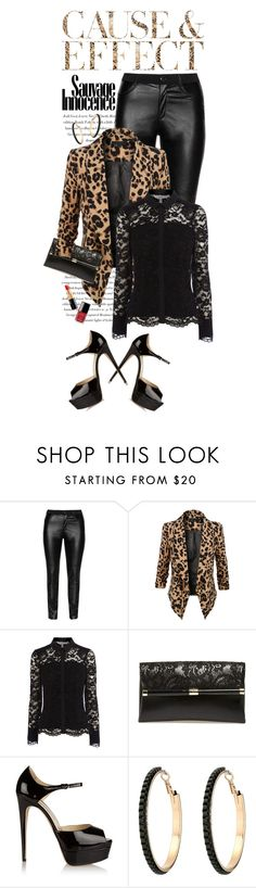 """""""Leather... Leopard...Lace"""" by shortyluv718 ❤ liked on Polyvore featuring Envi, DNY, LE3NO, Diane Von Furstenberg, Brian Atwood, GUESS and Giorgio Armani"""