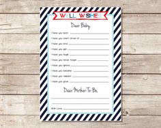 Nautical Baby Shower Game  Wishes for Baby  by PricklyPress