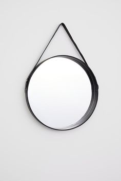 H & M Round Mirror with Leather Frame - Black - Mirror Black Round Mirror, Round Mirrors, Mirrors With Leather Straps, Schwarz Home, Cordon En Cuir, Gold Candle Holders, Hm Home, Home Decor Hacks, Handmade Home