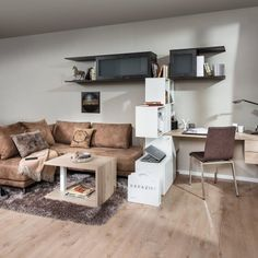 Living room with home office p. Max mass furniture - carpenter quality from austria Home Office, Office Desk, Austria, Living Spaces, Living Room, Corner Desk, Loft, Couch, Furniture