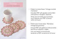 Crochet pink vintage mandalas by Anabelia