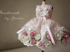 blythe flower dress/pullip dress/ dal dress/YOSD dress/rose garden /Cute princess outfit / Blythe fashion / pink  / bow /doll dress