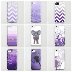 PURPLE IPHONE CASES | love all of these except the middle of the top row and the leftmost of the middle row