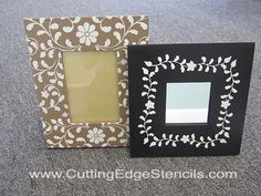 stenciled picture frames
