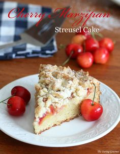 German-style cherry marzipan streusel cake. Includes a recipe for easy homemade marzipan!