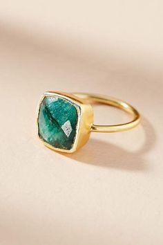 Encircled Green Gemstone Ring #Anthropologie #ad