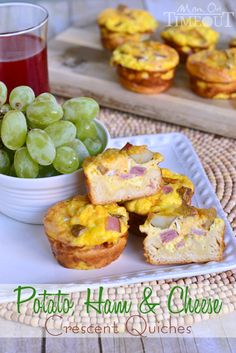 Potato, Ham and Cheese Crescent Mini Quiches are easy to make and fun to eat! | MomOnTimeout.com | #breakfast #recipe