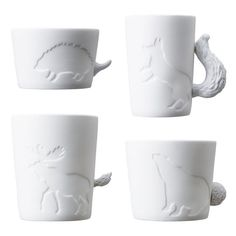 Hedgehog Mug, Rain Deer Mug, Fox Mug and Polar Bear Mug