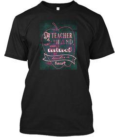 Teacher Hand Mind Heart Black T-Shirt Front