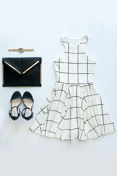 Reality Check Black and Cream Grid Print Dress