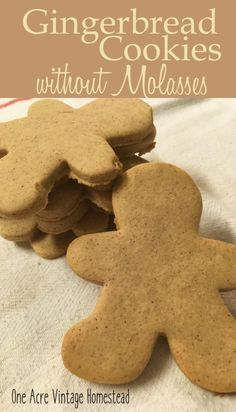 Gingerbread Cookies without Molasses ⋆ One Acre Vintage & Pumpkin Patch Mtn. - - These are just like the old fashioned Christmas gingerbread cookie but they lack the traditional molasses. Gingerbread Cookies Recipe Without Molasses, Healthy Gingerbread Cookies, Gluten Free Gingerbread, Ginger Bread Cookies Recipe, Cookie Recipes, Ginger Cookies Recipe Without Molasses, Almond Cookies, Chocolate Cookies, Sugar Cookies
