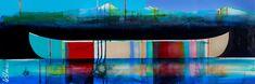 Sonate, mixed media canoe painting by Sylvain Leblanc   Effusion Art Gallery + Cast Glass Studio, Invermere BC River Painting, Boat Painting, Cast Glass, Canadian Artists, Contemporary Decor, Canoe, House Colors, Landscape Paintings, Original Artwork