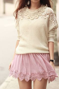A big oversize sweater with a cute light colored lace skirt<3
