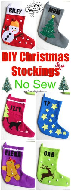 DIY Christmas Stockings No Sew great for personalization! DIY Christmas Stockings No Sew great for personalization! Christmas Crafts For Kids To Make, Christmas Activities For Kids, Christmas Mom, Christmas Sewing, Diy For Kids, Christmas Ideas, Holiday Ideas, Christmas Jokes, Christmas Patterns