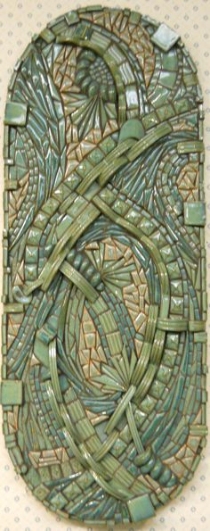 "Abstract Mosaic Wall Art Handmade Ceramic Tile  ""Currents"". $340.00, via Etsy."