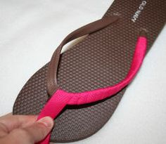 Cute way to dress up cheap plastic flip flops!  Wrap them with ribbon.