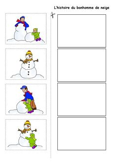 Image du Blog nounoulolo88.centerblog.net Winter Kids, Winter Art, Winter Theme, Sequencing Pictures, Sequencing Cards, French Teaching Resources, Teaching French, Winter Activities, Writing Activities