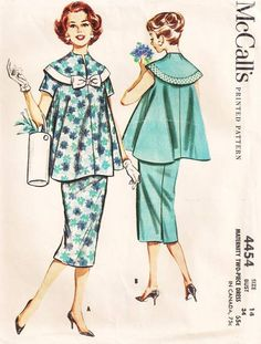 Vintage McCall's 4454 Two-Piece Maternity Dress Pattern : Vintage Sewing Patterns, Heavens To Betsy Maternity Dress Pattern, Maternity Sewing Patterns, Maternity Wear, Maternity Dresses, Maternity Fashion, 1950s Fashion Women, Retro Fashion, Vintage Fashion, Vintage Outfits