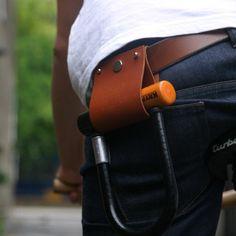 Leather D Lock Holder by Deer Runner